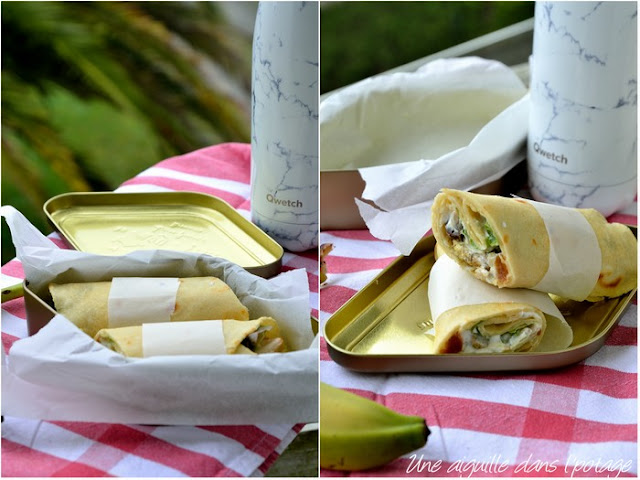 Wraps-chicken-spices-dried fruits-lemon