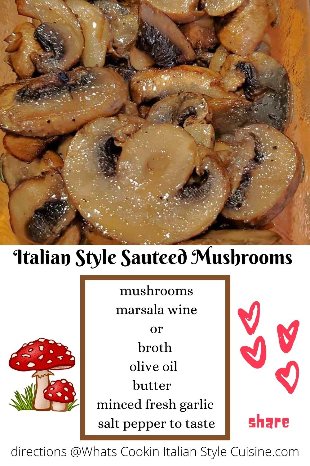 this is a pin for later how to make sauteed Italian style mushrooms