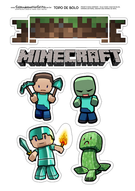 Minecraft: Free Printable Cake Toppers.