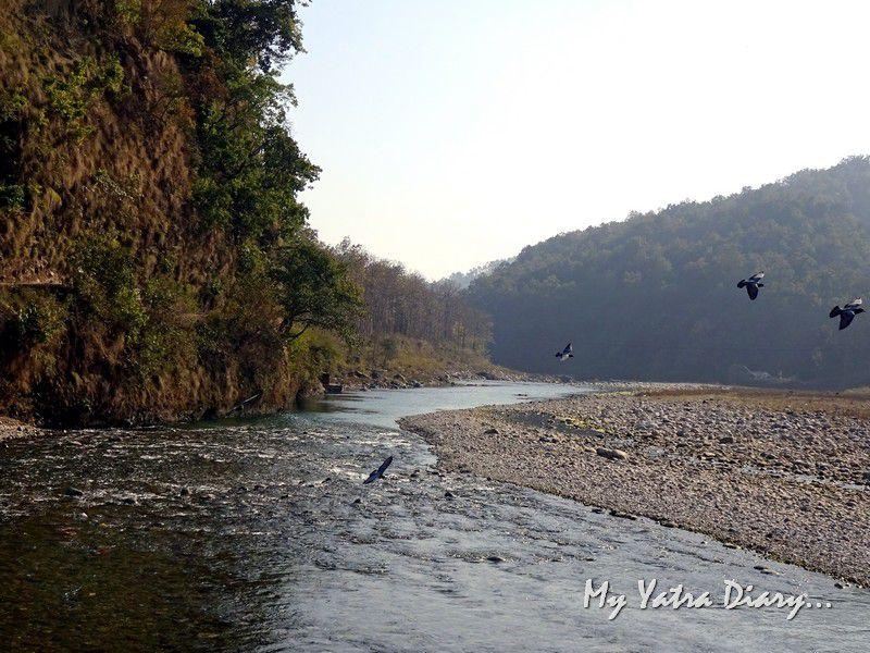 Peaceful river Kosi Garjiya Devi Shakti Temple Uttarakhand