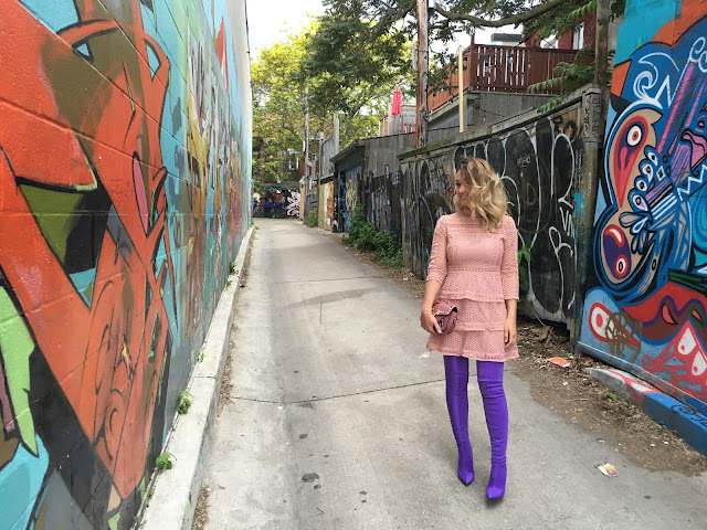 purple OTK boots, Balenciaga purple boots, Balenciaga OTK boots, purple boots, graffiti toronto, toronto streetstyle, canadian fashion blogger, welcome to 30s club, best blogger streetstyle, lace pink dress, how to dress in your 30s