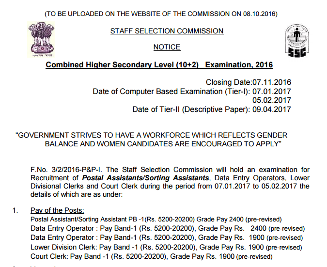 ssc chsl 10+2 notification 2016 in pdf download