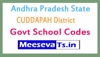 CUDDAPAH District Govt School Codes in Andhra Pradesh State