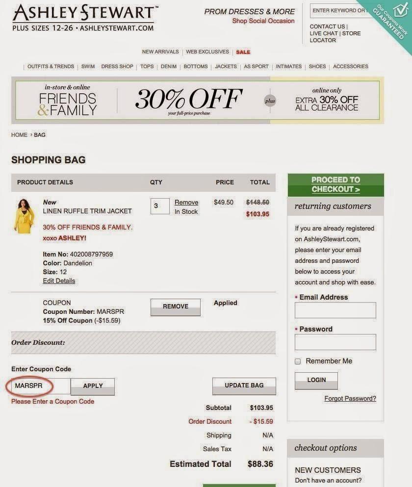 ashley stewart discount code