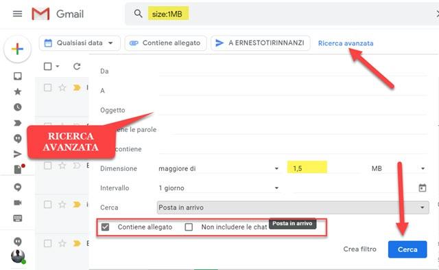 ricerca avanzata di gmail