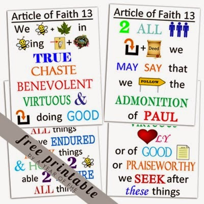 Magic image throughout 13th article of faith printable