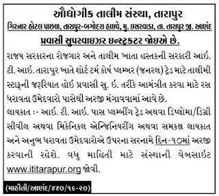 ITI Tarapur, Anand has published an Advertisement for below mentioned Posts 2019.