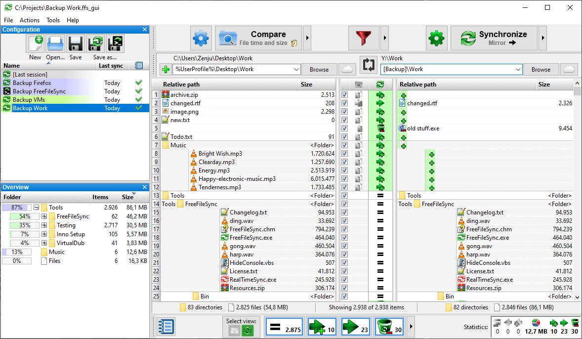 FreeFileSync Main Interface Screenshot