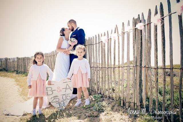 photo portrait des mariés et leurs filles