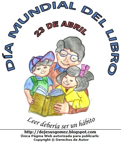 Dibujo del Día Mundial del Libro (Leyendo un libro). Dibujo al Día Mundial del Libro hecho por Jesus Gómez
