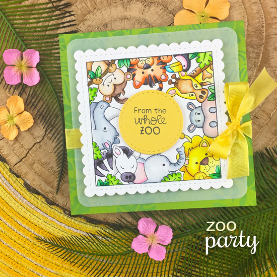 From the whole Zoo card by Jennifer Jackson | Zoo Party Stamp Set, Tropical Leaves Stencil and Frames Squared Die Set by Newton's Nook Designs #newtonsnook #handmade