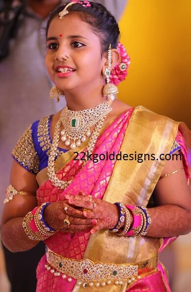 Half Saree Function Diamond Jewellery
