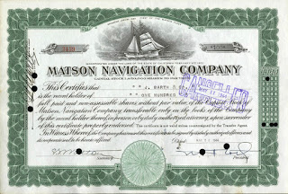 stock certificate from the Matson Navigation Company