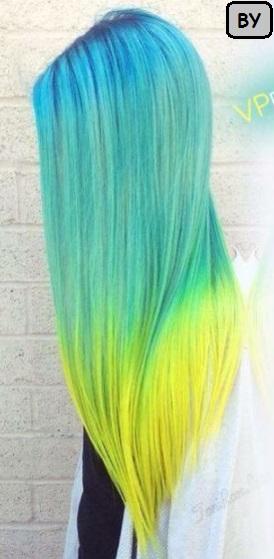 Rambut wanita panjang lurus degradasi warna biru kuning 2017
