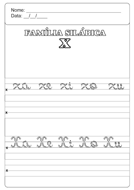 famíia silábica do x