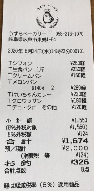 うずらベーカリー 2020/6/24 のレシート