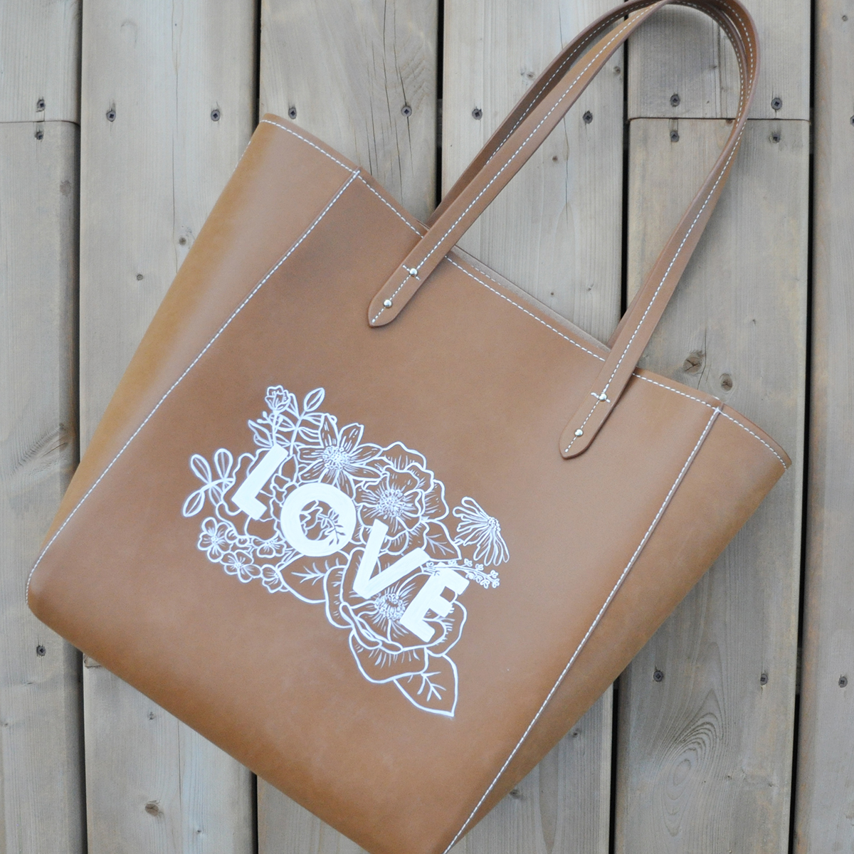 Hand Painted Faux Leather Handbag