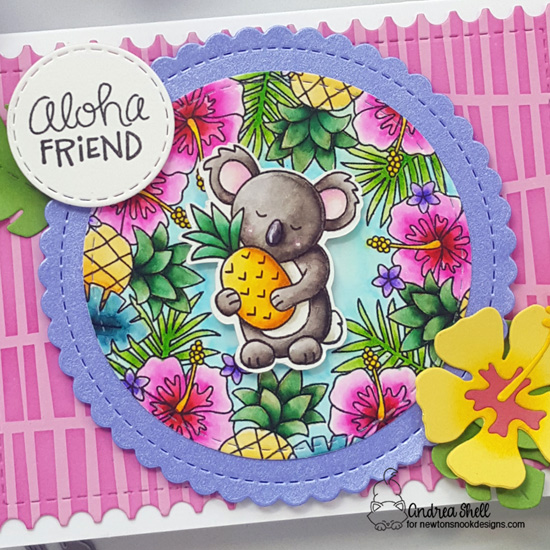 Aloha Friend Tropical Card by Andrea Shell | Tropical Fringe Stamp Set, Pina Koala Stamp Set, Hibiscus Die Set, Framework Die Set, Circle Frames Die Set and Serene Stripes Stencil by Newton's Nook Designs #newtonsnook #handmade