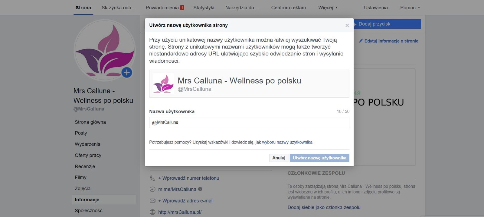 jak zmienić adres strony na fb