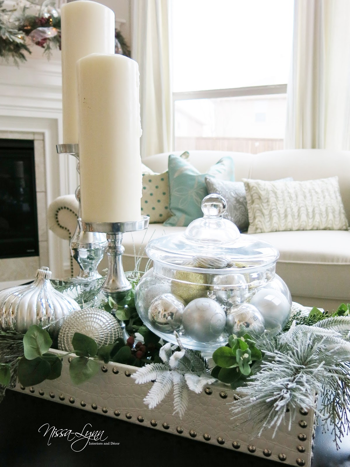 favorite color holiday decor with a few of your normal decor pieces