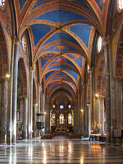 The beautiful vaulted ceiling of the Basilica di Santa Maria sopra Minerva in Rome