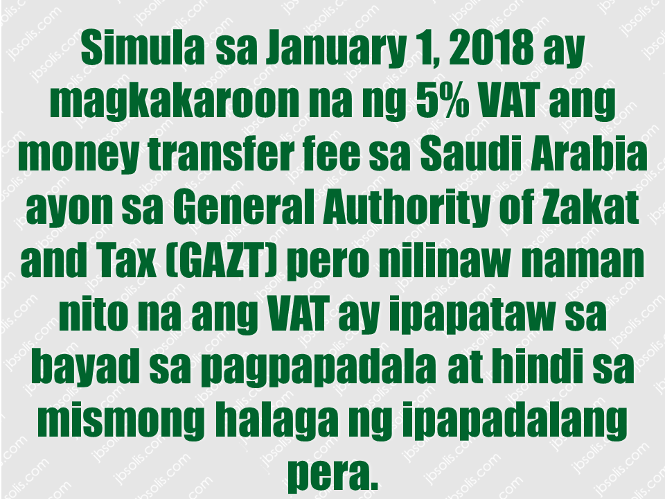 Money transfer charges will increase from Jan. 1 as 5% Value Added Tax (VAT) will be levied on money transfer fees, according to the General Authority of Zakat and Tax (GAZT), which is responsible for managing the implementation, administration and enforcement of VAT in Saudi Arabia in close coordination with other relevant entities. Advertisements  The 5% VAT will be on the money transfer fee and not on the transfer amount, GAZT clarified, adding that VAT will be paid by the person sending money. However, many financial services will be exempt from VAT. These include several transactions and services such as interest on loans, lending fees charged with an implicit margin such as loans and credit cards, mortgages, financial leasing, transactions involving money and securities, as well as current, deposit and savings accounts.   Other exempted services include life insurance policies. Registered businesses conducting economic activities are subject to VAT, but registered businesses conducting VAT-exempted economic activities are not entitled to deduct VAT. Sponsored Links The nature of economic activities will determine whether VAT should be levied on these or not. House rent and medicines are among some of the facilities and commodities exempted from Value Added Tax (VAT). VAT will be implemented in the Kingdom from Jan. 1 2018. No VAT will be levied on passport and driving license issuance and renewal fees. No VAT will apply on exports to countries outside the Gulf Cooperation Council, services given to non-residents of GCC countries, international transport services for goods and passengers, import of spare parts of qualified means of international transport and their maintenance, repair and modifications. Source: Saudi Gazzete Money transfer charges will increase from Jan. 1 as 5% Value Added Tax (VAT) will be levied on money transfer fees, according to the General Authority of Zakat and Tax (GAZT), which is responsible for managing the implementation, administration and enforcement of VAT in Saudi Arabia in close coordination with other relevant entities. Advertisements  The 5% VAT will be on the money transfer fee and not on the transfer amount, GAZT clarified, adding that VAT will be paid by the person sending money. However, many financial services will be exempt from VAT. These include several transactions and services such as interest on loans, lending fees charged with an implicit margin such as loans and credit cards, mortgages, financial leasing, transactions involving money and securities, as well as current, deposit and savings accounts. Other exempted services include life insurance policies.  Registered businesses conducting economic activities are subject to VAT, but registered businesses conducting VAT-exempted economic activities are not entitled to deduct VAT. Sponsored Links The nature of economic activities will determine whether VAT should be levied on these or not. House rent and medicines are among some of the facilities and commodities exempted from Value Added Tax (VAT). VAT will be implemented in the Kingdom from Jan. 1 2018. No VAT will be levied on passport and driving license issuance and renewal fees. No VAT will apply on exports to countries outside the Gulf Cooperation Council, services given to non-residents of GCC countries, international transport services for goods and passengers, import of spare parts of qualified means of international transport and their maintenance, repair and modifications. Source: Saudi Gazzete  Advertisement Read More:     ©2017 THOUGHTSKOTO