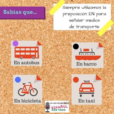 imagen con medios de transporte en español