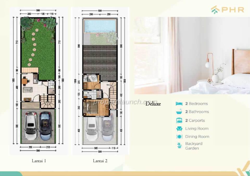 Denah rumah cluster Golden PHR Bekasi tipe Deluxe