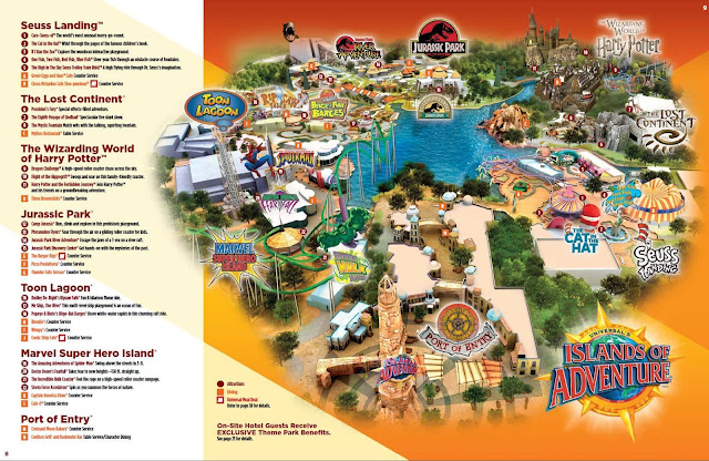 Mapa do Parque Islands of Adventure em Orlando