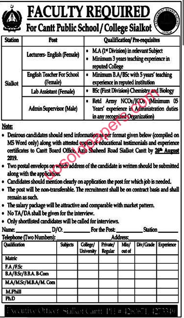 Faculty Required for Cantt Public School / College in Sialkot, Pakistan Date Posted: 11 August, 2019   Last Date: 26 August, 2019   Newspaper: Jang Jobs
