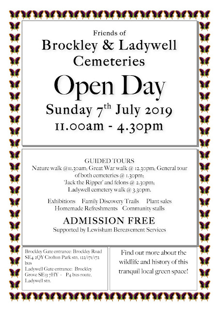 Friends of  Brockley & Ladywell Cemeteries  Open Day Sunday 7th July 2019 11.00am - 4.30pm