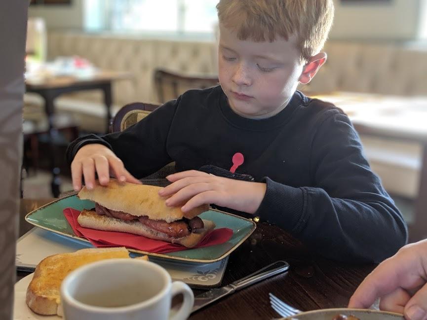 The King's Head Inn Pub near Roseberry Topping - sausage sandwich for breakfast