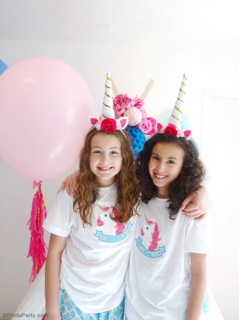 DIY Unicorn Party Headbands - learn to craft these easy accessories for birthday celebrations, Halloween costume or a party photo booth prop! by BirdsParty.com @birdsparty