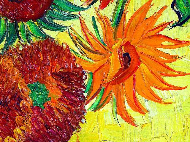 Detalhe de Sunflowers de Van Gogh