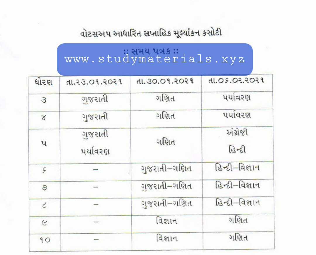 Std 3 to 8 time table