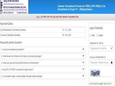 IBPS RRB PO Admit Card 2021 Out @ibps.in: Download Officer Scale 1 CRP-RRBs-X Prelims Call Letter Here