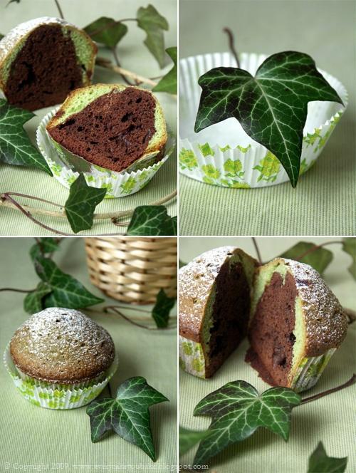 babeczki z czekoladą i zieloną herbatą matcha