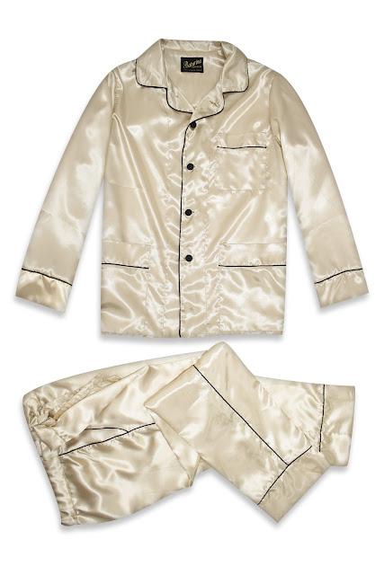 mens gold silk pajamas set satin pyjamas cream