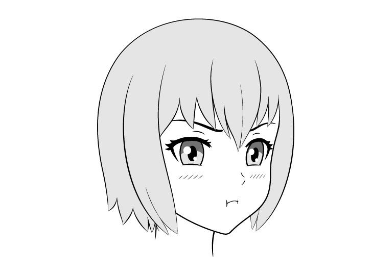 Anime cemberut wajah menggambar 3/4 tampilan