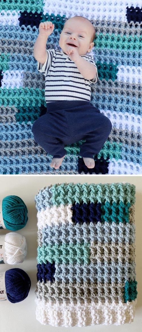 Crochet Waffle Stitch Playmat Blanket - Free Pattern