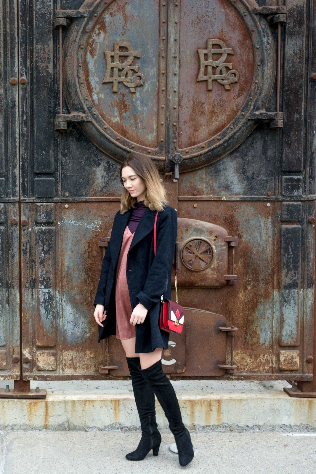 how to wear slip dress, slip dress trend, masculine jacket, layering outfit, over the knee boots