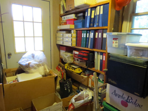 sorted shelving and storage boxes
