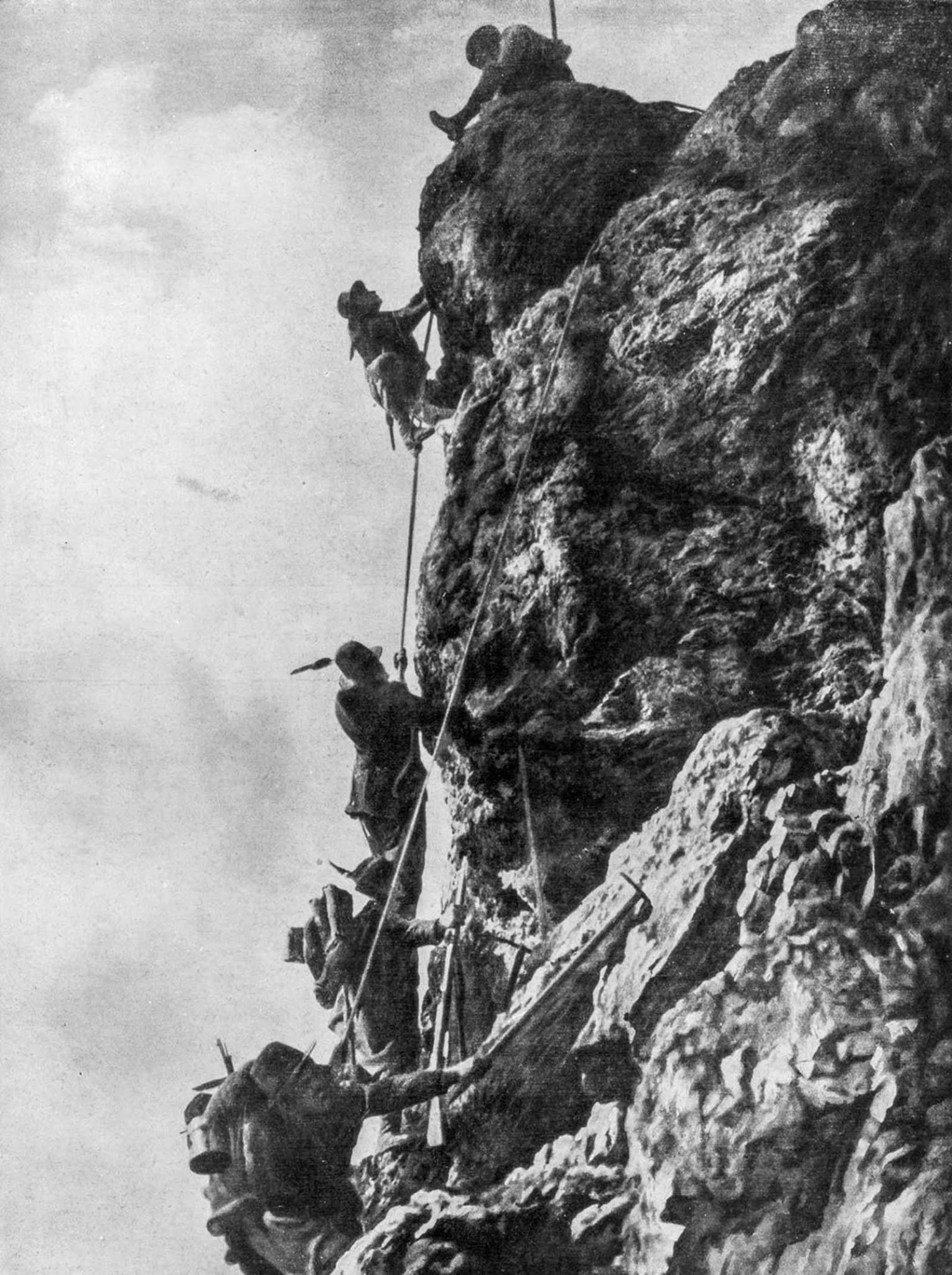 Italian soldiers scale Monte Nero on the Karst plateau during the Second Battle of the Isonzo. 1915.
