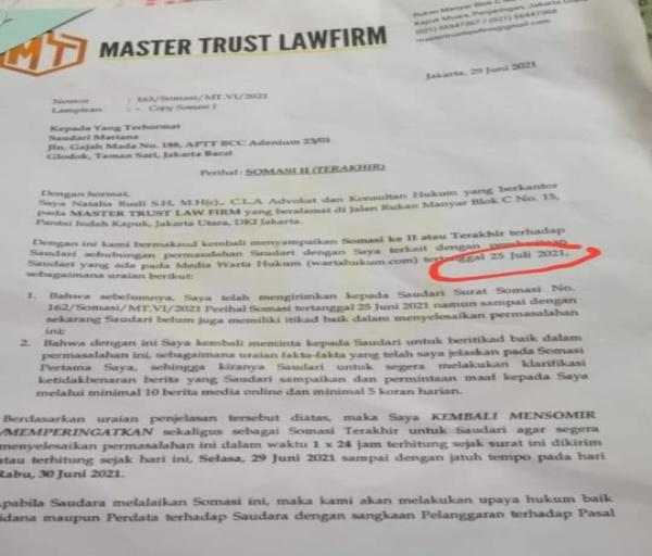 Disomasi Founder Master Trust Lawfirm, Korban M : Silahkan Proses Hukum