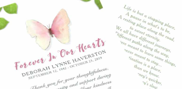 beautiful sympathy butterfly funeral thank you from family card
