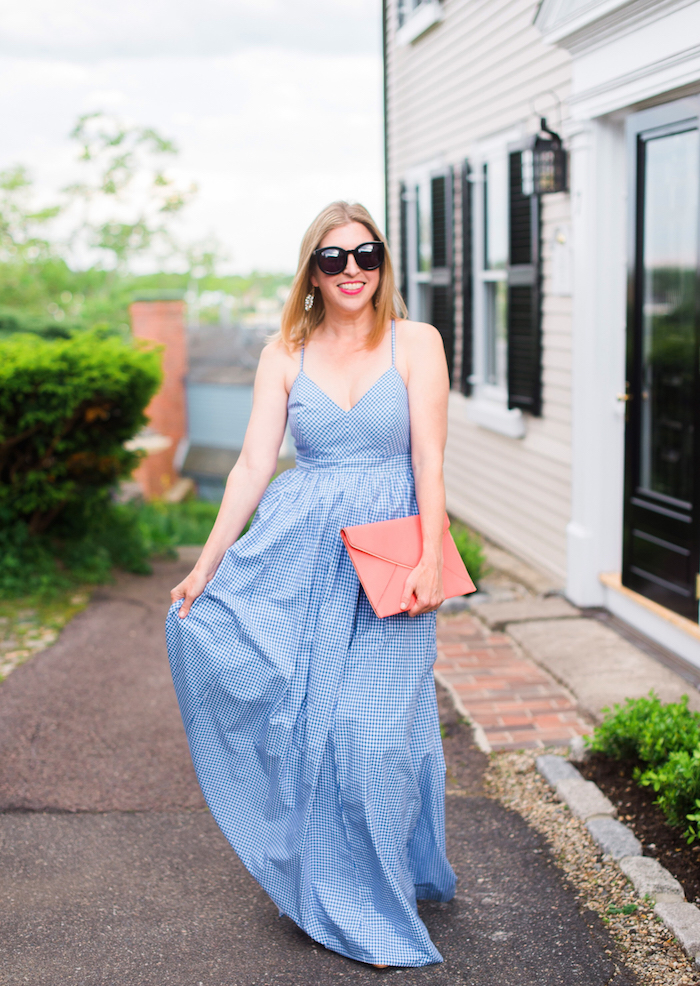 J. Crew spaghetti strap gingham gown