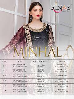 Rinaz Fashion Minhal Georgette Pakistani Suits Collection 2020 Latest