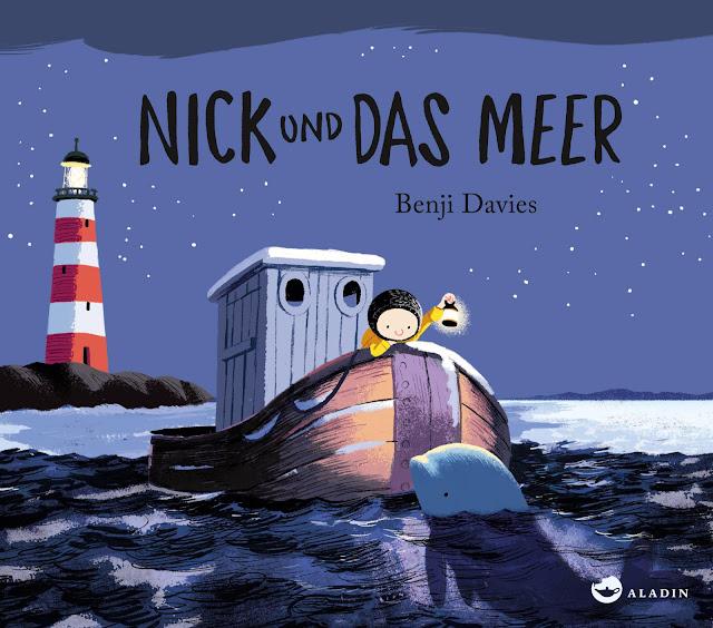 """In meinem neuesten Bücherboot stelle ich Euch zahlreiche Kinderbücher zum Thema """"Wale"""" vor. Und auch für die Eltern bzw. Erwachsenen ist etwas dabei :) Jedes der vorgestellten Kinder- und Jugendbücher darf ich am Ende des Posts auch an Euch verlosen - damit Ihr voller Wal-Faszination schmökern könnt! Hier seht Ihr übrigens das Cover zu """"Nick und das Meer"""" von Benji Davis."""