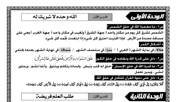 مذكرة دين اسلامي منهج الصف السادس الابتدائي الترم الاول