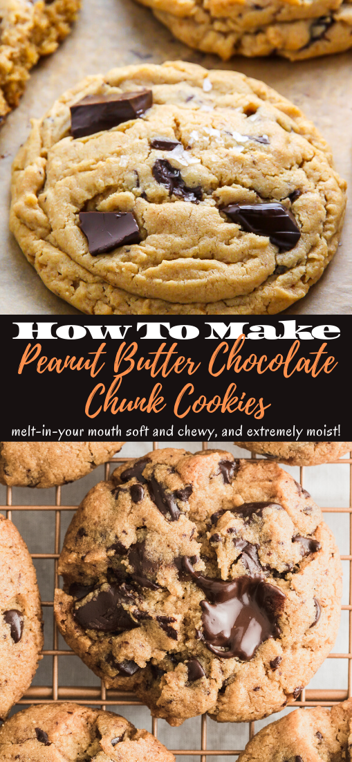 Peanut Butter Chocolate Chunk Cookies #desserts #cakerecipe #chocolate #fingerfood #easy